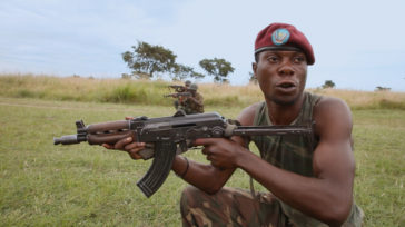 A FARDC soldier training in Rwindi, North Kivu