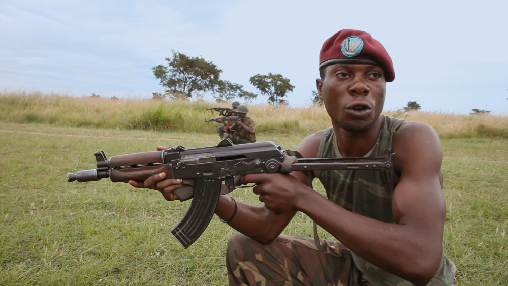 A FARDC soldier training in Rwindi, North Kivu